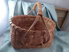 WOVEN BASKET & CURVED HANDLE/ SIGNED & DATED 1990/ LIGHT COLORED BASKET WEAVE