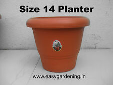 Easy Gardening Size 14 Pots - Terracotta Color Plastic Planter (Pack of Six)