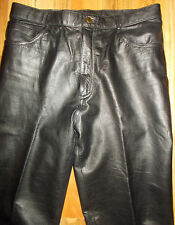 Leather Motorcycle Pants VINTAGE Womens 31x35 Fashion Black J Park Lined 4J180