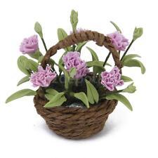 Dollhouse Miniature Purple Carnation Flower Plant in Basket Fairy Garden