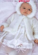 BABY knitting pattern girls  fur edged hooded  cardigan  / jacket birth / 2r  dk