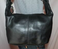 STONE MOUNTAIN Black Medium Leather Shoulder Hobo Tote Slouch Purse Bag