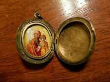 Russian silver ,antique 1860s painted mother-of-pearl locket pendant