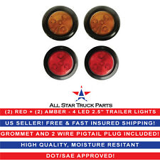 "2.5"" Round 4 LED Light Truck Trailer Side Marker Clearance Kit (2 AMBER + 2 RED)"