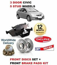 PARA HONDA CIVIC 1.7DT 02-06 FRENO DELANTERO 5 STUD DISCOS SET+KIT PASTILLAS