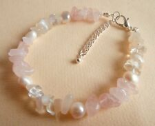 Rose Quartz Moonstone Pearl Gemstone Healing Love Fertility Bracelet Gift Bag