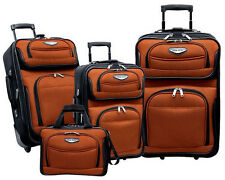 Travel Select Orange 4-Piece Amsterdam Expandable Rolling Luggage Suitcase Set
