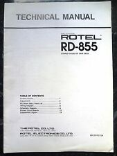 ROTEL TECHNICAL (service) MANUAL for RD-855 Stereo Cassette Tape Deck