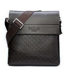 New Men's Casual Genuine Leather Briefcase Shoulder Bag Messenger Plaid Pattern