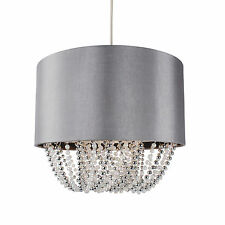 Modern Boudoir Pendant Ceiling Light Shade - Grey Fabric w/ Chrome & Pearl Beads