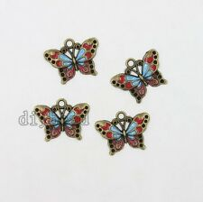 10x Vintage Bronze&Enamel Alloy Butterfly Pendants Charms Jewelry Decorations D