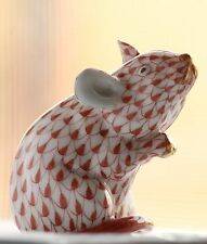 HEREND Hungary Fishnet Pink Mouse Hand-painted Porcelain Figurine
