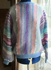 New Hand Knitted Vintage style pink mix mohair crew sleeve jumper size 16
