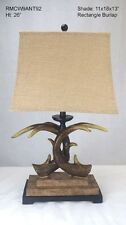 """NEW 26"""" LODGE ANTLER TABLE LAMP Double Antlers 11x16x11 Rectangle Burlap Shade"""