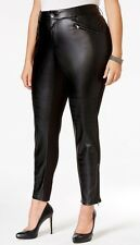 NEW Harper & Liv Women Plus Size Faux Leather Ponte Slim Leg Black Pants 18W $79