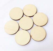 30pcs Unfinished Wooden Round Circle Disc Embellishments Wedding Art Craft 40mm