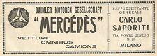 Y2703 Vetture MERCEDES - Pubblicità del 1922 - Old advertising