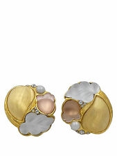 Alexis Bittar Gold, Pink, and White Lucite with Pearl and Crystal Earrings