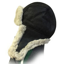 Black Russian Military Style Aviator Trapper Genuine Shearling Sheepskin Hat 3XL