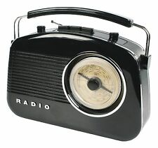 NEW PORTABLE RETRO 1960'S BLACK COLOUR BATTERY & MAINS OPERATED PORTABLE RADIO