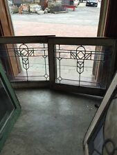 Sg 369 Matched Pair Antique Leaded Glass Windows