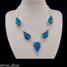 Mosaik Jaspis, grün - blau, Halskette, Collier, Silber plattiert