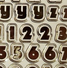 Gold on Transparent Lower Case Alphabet Letters Numbers Stickers 544-18