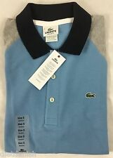 Lacoste Men's Polo Shirt Navy Blue Gray Color Block NWT EU 7 US Size M