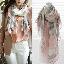 Eiffel Towel Long Womens Cotton Scarf Wrap Ladies Shawl Girls Large Silk Scarves