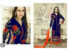 Karishma Kapoor-Exclusive Heavy Cotton Dress material nevy blue
