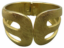 Crown Trifari Vintage Bracelet Wide Hinged Cuff Bangle Gold Textured Chunky 377g