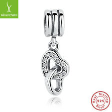 Authentic 925 Sterling Silve Love Heart to Heart Dangle Charms Pendants Jewelry