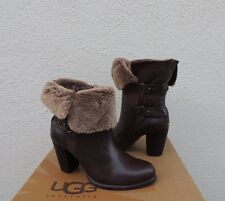 UGG JAYNE STOUT LEATHER/ SHEEPSKIN CUFF BUCKLE ANKLE BOOTS, US 7/ EUR 38 ~NEW