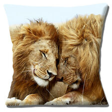 "TWO LIONS 'KING OF THE JUNGLE' FATHER & SON PHOTO PRINT 16"" Pillow Cushion Cover"