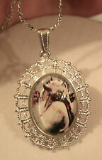 Lacy Picot Outer Rim Dramatic Lady with Her Head Back Silvertne Pendant Necklace