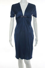 Blumarine Blue Short Sleeve Slim Fit Embellished Cocktail Dress Size 10/ 42
