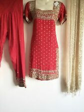 Salwar Kameez Saree Sari Mendhi Indian Bollywood Fancy Dress Costumer Red XS