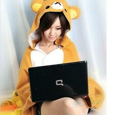 San-x Rilakkuma Hoodie Brown Bear Costume Plush Cape Warp Shawl Cloak Blanket