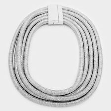 "18"" silver 5 layer multi row coil choker collar necklace african egyptian bib"