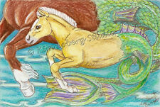 mom Baby pony Sea Horse EBSQ Kim Loberg fantasy Mini ART ocean Colt Hippocampus
