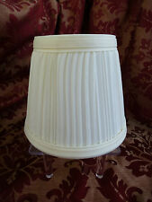 Pleated Elegant Lamp Shade ~ Cream Satin Fabric With Edging ~ Clip On Style