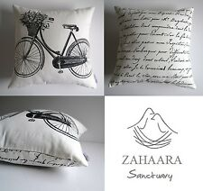 """""""Odessa"""" Black & White Cushion Cover Vintage French Provincial Bicycle Script"""