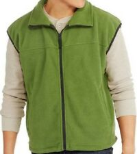 Mens fleece vest L LARGE green full zip mock neck sleeveless winter warm jacket