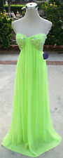 NWT MORGAN & CO $200 NEON LIME Formal Ball Prom Gown 7