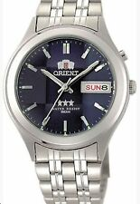 Orient Silver Dark Blue Men's Automatic Watch 9 Faceted  Orient Box + Warranty
