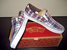 Vans Classic Slip on Mens Plaid Mix Dress Blues White Canvas shoes Size 8 NWT