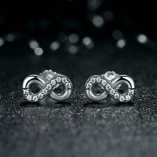 Authentic S925 Sterling Silver Infinite Love Stud Earrings w/Clear CZ Accents