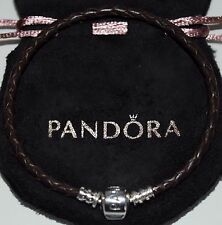 GENUINE PANDORA BROWN WOVEN LEATHER CHARM BRACELET S925 ALE 19CMS WITH POUCH