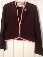 ANTROPOLOGIE FIELD FLOWER Oyster Shell Brown Pink Sweater Cardigan Medium $128