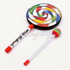 Children Kid Wood Lollipop Hand Drum Hammer Percussion Music Early Education Toy